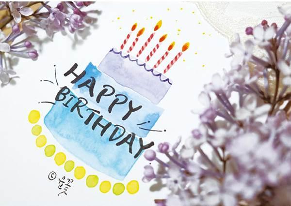 """自己畫更有心意❤教你簡單7步驟用水彩筆畫""""生日蛋糕"""",其實一點也不難!"""