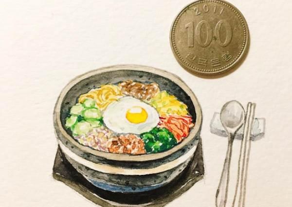 這IG根本是餐廳MENU吧!韓系文青風水彩美食畫,連石鍋拌飯都只有銅板大小?