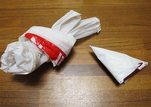 塑膠袋找版型,隨性做可愛購物袋