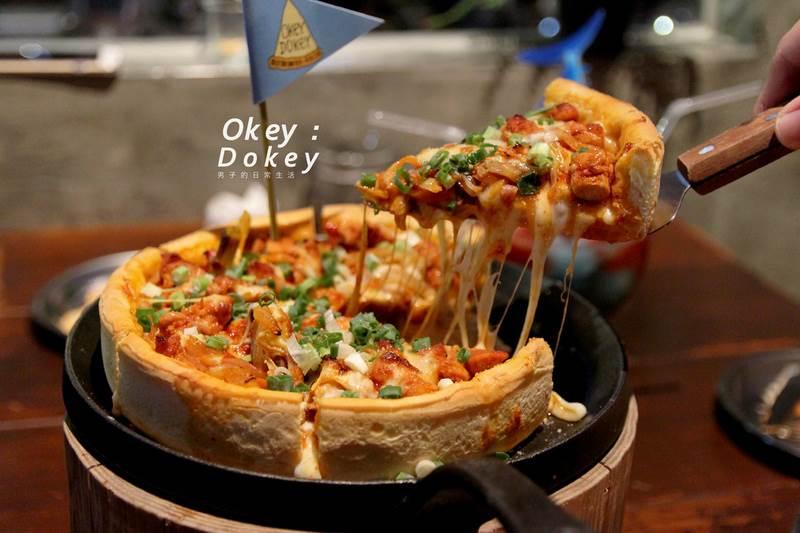 Okey Dokey,台北東區人氣時髦韓式比薩店,吃完敲的年糕,再來份春川辣炒雞厚比薩。國父紀念館/