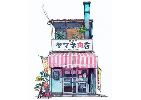 《你的名字》不是日本人畫的? 波蘭插畫家用水彩複製東京超復古老店舖,看完還以為回到50年前!