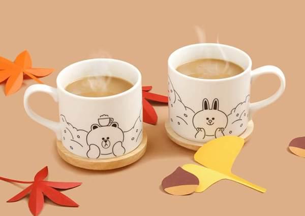 LINE FRIENDS 熊大兔兔超可愛溫暖組合:「木蓋馬克杯」與「咖啡拉花紙片」!