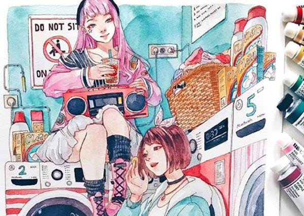 在車站等車也能像小說封面?文青感女孩浪漫漸層插畫,飄逸的頭髮+空靈的表情根本是職業級網美!