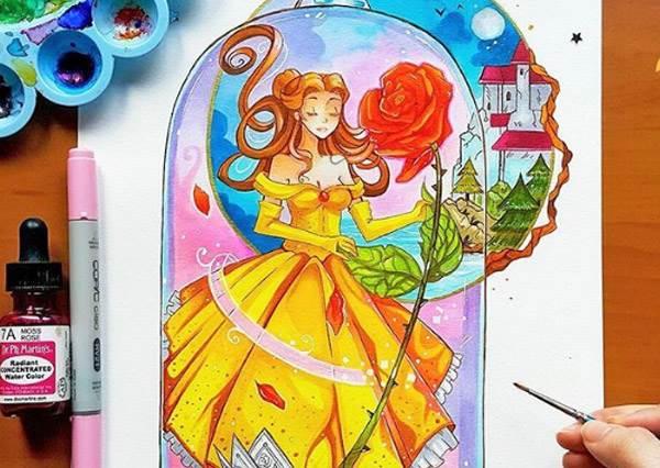 貝兒露出無辜貓咪眼,野獸怎麼受得了?當迪士尼公主變身日系少女,連女漢子木蘭也無違和啊!