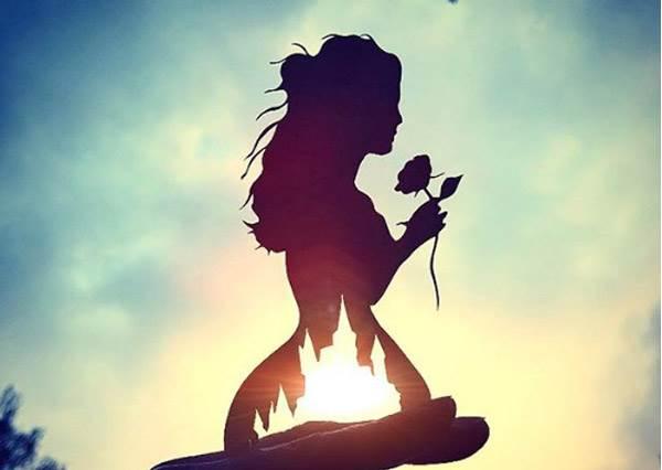 這是美女與野獸的最新劇照吧!陽光下超美「卡通人物剪紙秀」,黃昏果然是屬於小精靈的背景啊!