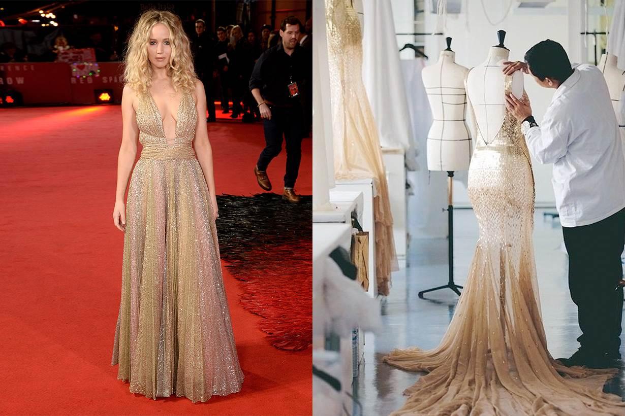 Jennifer Lawrence 的 Dior 禮服做工有多複雜?光從布料的處理便讓你大開眼界!