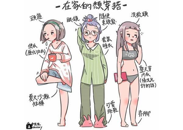 在家你是睡衣穿整天還是系服好好穿?5種女孩超Q情境穿衣style,韓妞女孩頭戴的不是髮帶是歐膩態度啊!