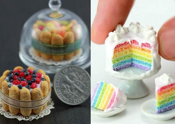 迷你版更有FU♥「超夢幻少女心可愛銅板甜點店」開張!這彩虹蛋糕的鬆軟夾層完全被她神手複製下來了啊~