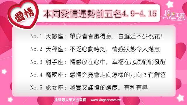 12星座本周愛情吉日吉時(4.9-4.15)