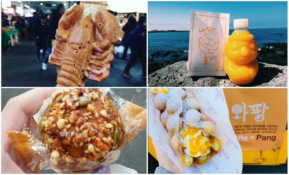 沒吃過橘子口味的雞蛋糕吧!濟州島必吃6款「高CP街邊小吃」,整支龍蝦麵包94狂啊~