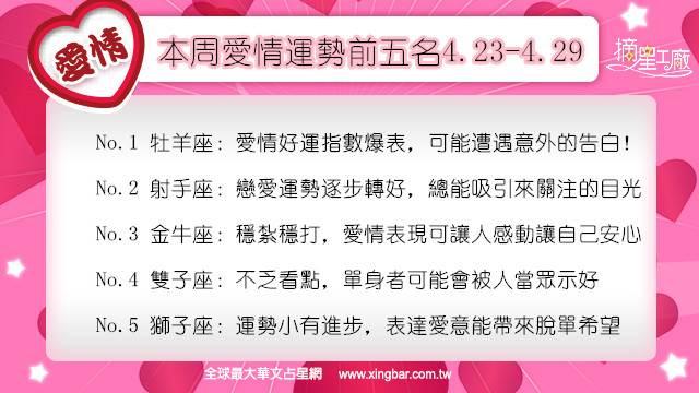 12星座本周愛情吉日吉時(4.23-4.29)