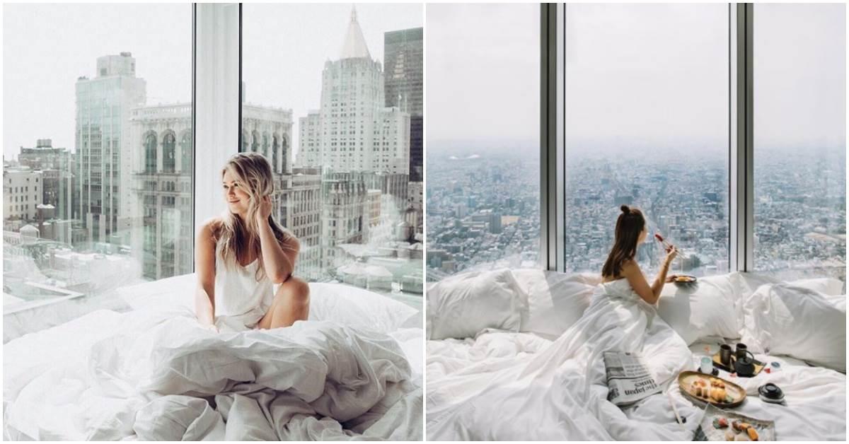 叫醒我的不是鬧鐘,是底下的維多利亞港!全球美翻「落地窗Hotel」介紹,就是要整天黏在窗邊不下床!