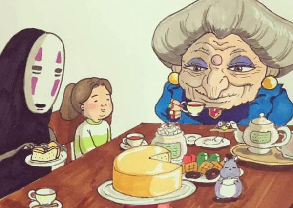 偷跟無臉男約喝午茶太犯規啦!《卡通成員&插畫家可愛亂入宮崎駿》,陪皮卡丘等公車的龍貓讓人暖到炸裂惹