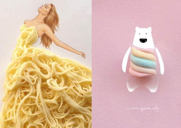 麵條吃光到底會看見什麼啦(遮眼)!超搞怪《日常小物華麗變身女孩洋裝秀》,棉花糖小熊彩虹毛衣想要啊~