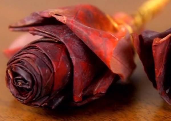 誰說浪漫就要花大錢?落葉也能摺成美美的玫瑰花,少女心滿到要溢出來了!