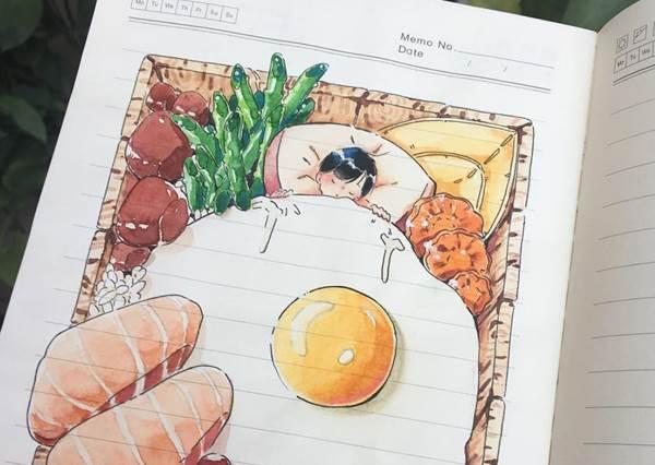 這是童話繪本吧!超強神級用畫筆記錄生活的「可愛繪圖日記」,這整牆茂密玫瑰花海會讓人畫到手廢掉啊~