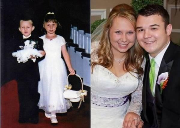 17年前他們手牽手一起當花童,17年後他們竟然在同間教堂手牽手走紅毯...