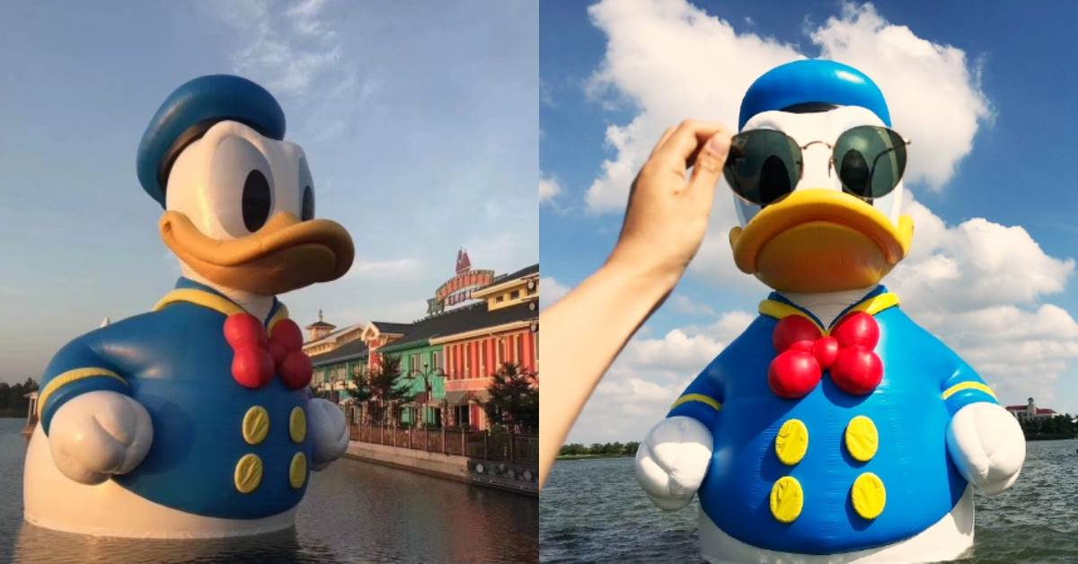 這支鴨鴨特別萌!11米「唐老鴨」游進上海迪士尼~再繼續可愛下去就把你裝進高腳杯帶走喔!