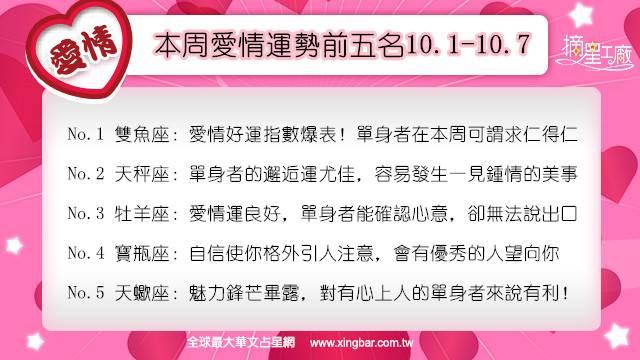 12星座本周愛情吉日吉時(10.1-10.7)