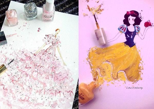 打翻指甲油也能美出新高度!「夢幻色指甲油變身公主小禮服」,這件美到貝兒鐵定願意脫下身上洋裝跟她交換!