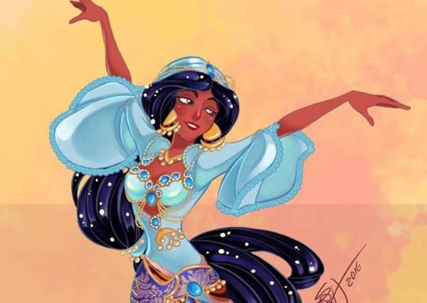 公主決定要往中東發展了!迪士尼公主全員化身美艷舞孃,艾莎這套舞蹈服是向蚌殼精致敬嗎?