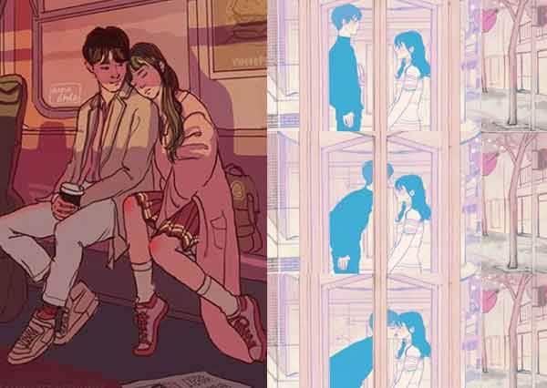 老天~賜我這樣一個男子吧!情侶超有愛生活日常插畫♥根本是幼稚又浪漫的韓劇情節真實上演啊~