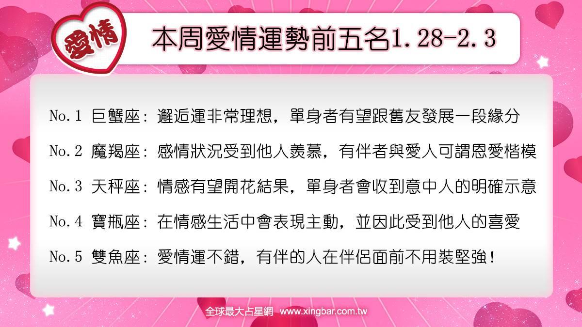 12星座本周愛情吉日吉時(1.28-2.3)