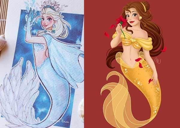 迪士尼公主圈人氣最高閨蜜服是這套!公主人人「搶穿小美人魚裝」,貝兒高顏值直接美成海中精靈啦