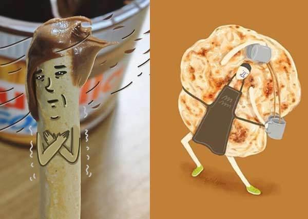嘿咻~炎炎夏日蝦子也苦練人魚線!趣味插畫《食物的各種諧星魂日常》,攔腰折斷的薯條誰敢吃啦!
