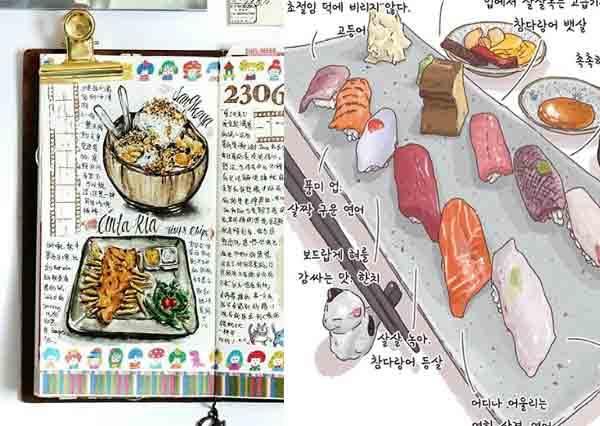 光看已飢餓!超強「手繪美食日記」帶你世界料理吃透透,台灣最強珍奶動感Q勁完全被這神手畫下來