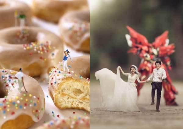 是誰開了哆啦a夢縮小燈!超療癒「小人國世界的迷你生活日常」,縮小人生的婚紗照感覺更浪漫!