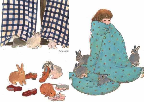 看完保證讓你為兔痴迷!日本「暖兔插畫」療癒寂寞女子的心,還有來自仙界的兔兔讓人無法不愛牠