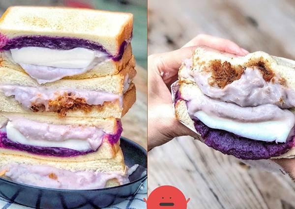 新北美食|幸福攏來早午餐|邪惡芋泥奶酪吐司,爆餡吃完滿嘴留香!~