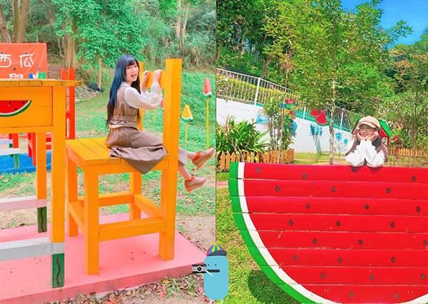新竹景點 西瓜莊園 無所不在的大西瓜,巨大課桌椅童趣又好拍!