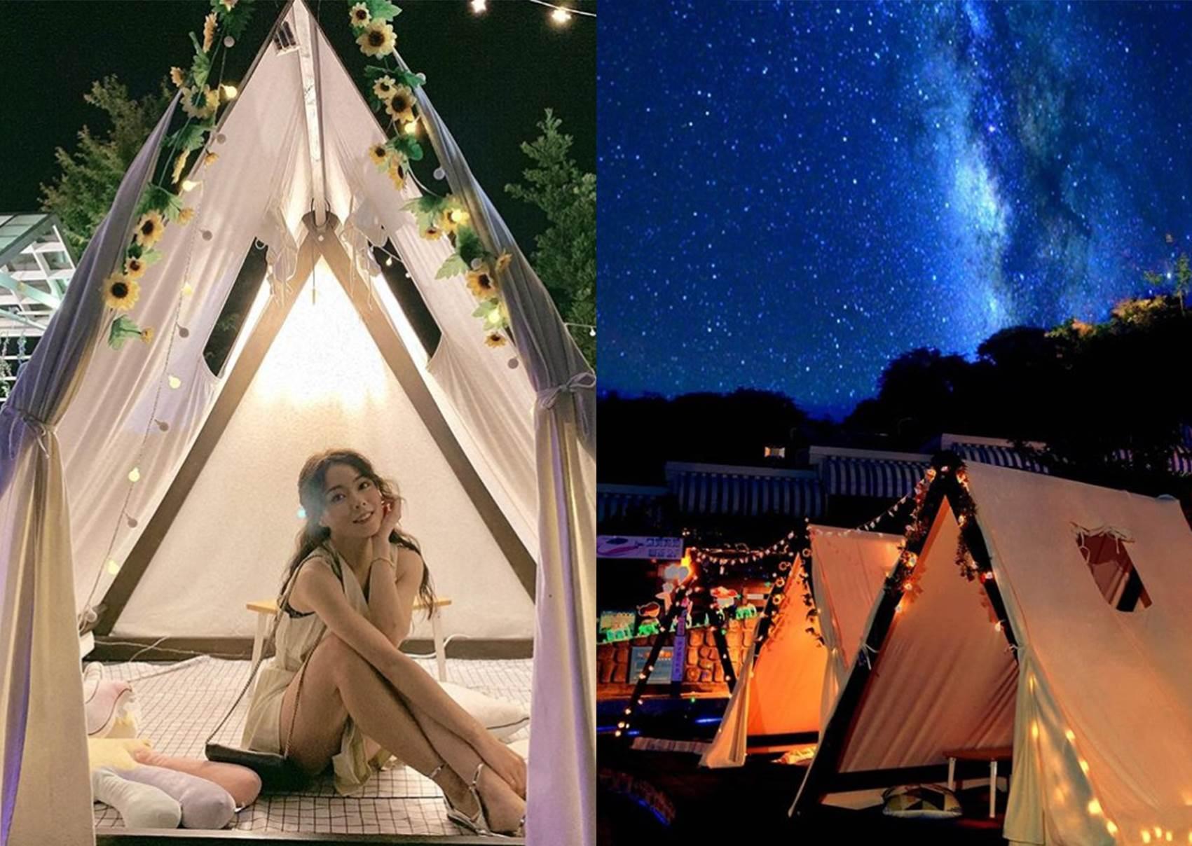 一起躺著數流星吧!特搜彰化約會新地標《浪漫系星空帳篷》,240度城市夜景讓你看到飽♥