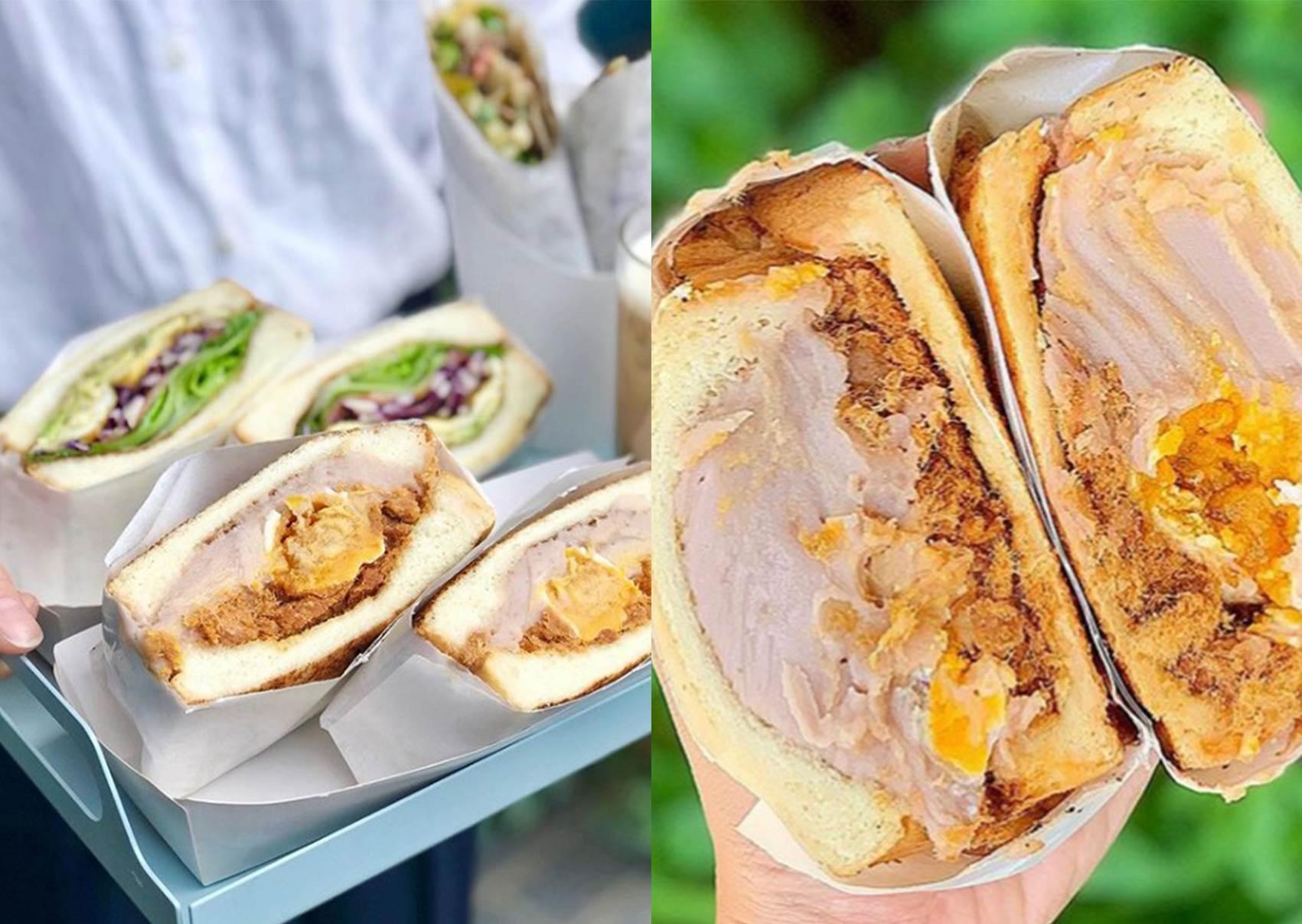 芋泥餡滿出來了啦!超澎湃「芋泥鹹蛋黃肉鬆三明治」,還包了整顆鹹蛋黃根本不吃不行啊~