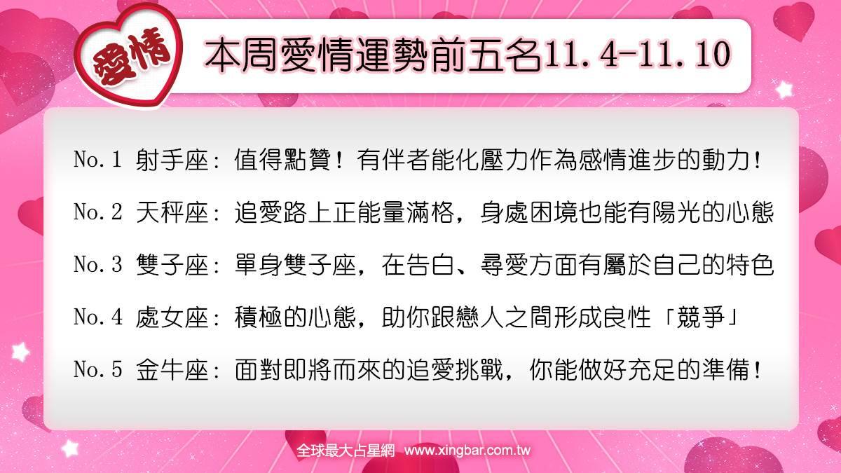 12星座本周愛情吉日吉時(11.4-11.10)