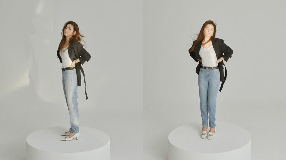 FASION/西裝外套Maison Margiela(初衣食午)、丹寧褲SJYP(ARTIFACTS)、低跟鞋Bottega Veneta‧JEWELRY/BVLGARI