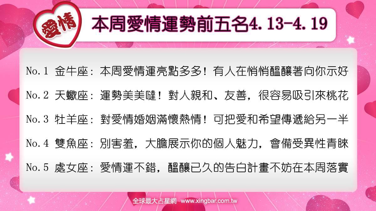 12星座本周愛情吉日吉時(4.13-4.19)