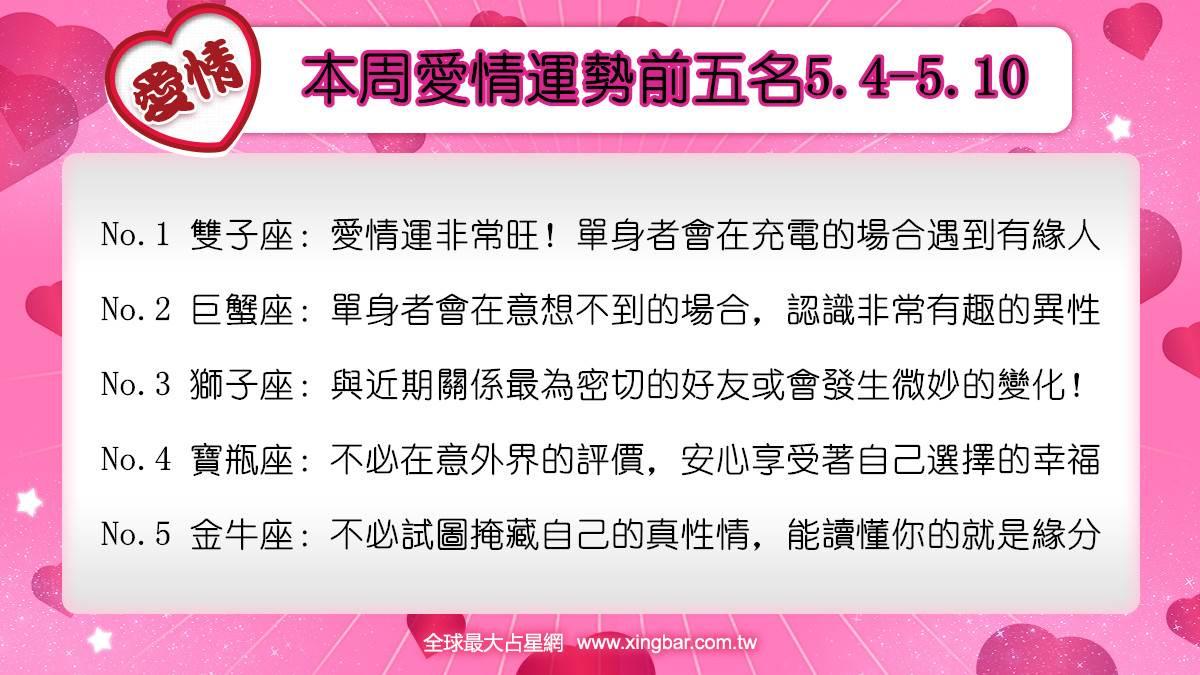 12星座本周愛情吉日吉時(5.4-5.10)