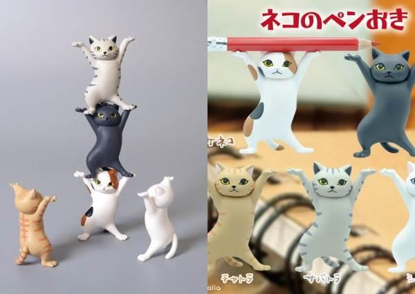 扛筆小幫手同時也是啦啦隊高手!日本爆紅趣味「貓咪筆架」扭蛋,民間創意疊羅漢玩法太爆笑~