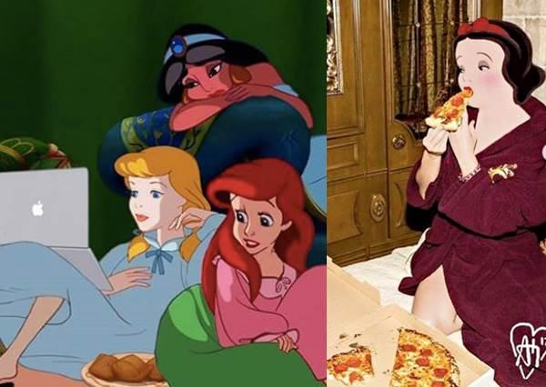 灰姑娘&愛麗兒&茉莉揪團追劇,「迪士尼公主」也開始居家防疫!白雪公主狂嗑披薩