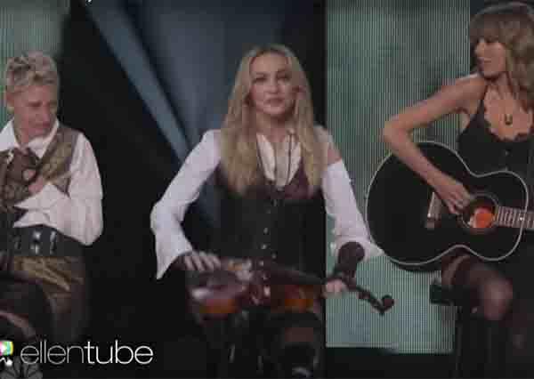 瑪丹娜與泰勒斯美妙合奏,只是當艾倫出現時,到底做了什麼,居然讓瑪丹娜直接折斷小提琴!?