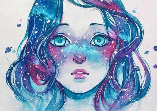 星星眼淚空靈美到炸裂太空!手繪「超夢幻星空髮色美少女」,光看畫家手繪過程整顆心都被療癒拯救了