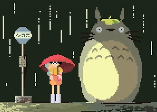 """【""""8-Bit像素版""""宮崎駿經典動畫作品】每個都是大家小時後的回憶,一格一格的也敲口愛~"""