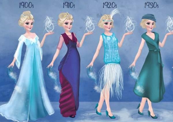 1920年的艾莎應該去演大亨小傳!「迪士尼公主的時尚進化史」,誰能Hold住每個時代流行?