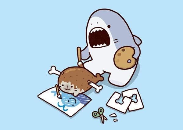 最愛海豹星冰樂?「鯊魚哥擬人化的吃貨日記」,進食畫面看了莫名療癒!