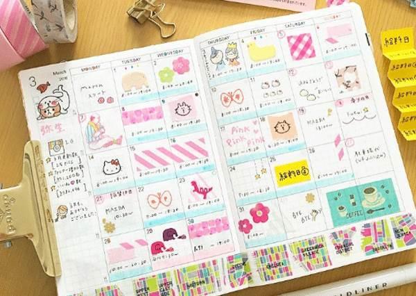 貼紙這樣貼才可愛!日系簡單風手帳本,連不會畫畫都能完美達成!