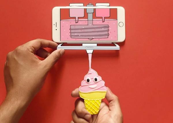 唉鳳說明書上未出現過的新功能?3D創意插畫,想不到手機容量大到竟然可以當書櫃用!
