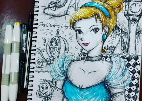 一定是他的筆特別厲害!用原子筆就能畫出直逼原作的迪士尼公主,就連細節也不放過!